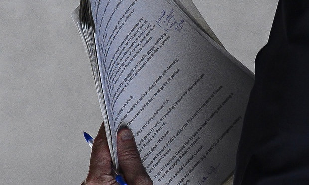 THe secret document carried by an official