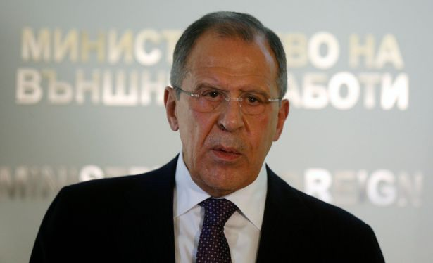 Russia's Foreign Minister Lavrov speaks during a news conference in Sofia